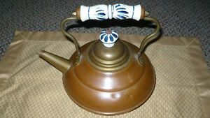 VINTAGE ADORABLE MIXED METALS TEAPOT WITH DELFT BLUE HANDLE Kitchener / Waterloo Kitchener Area image 1