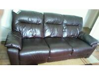 Reclaimed lather sofa with electric chair
