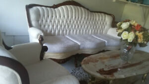 Solid Antique Sofa +Chair And Coffee Table