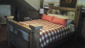 Antique Rustic Wooden Barnboard and Beam Bed