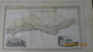 """170 Year Old Map """"Coast of Sussex,"""" c. 1833 by R. Martin."""