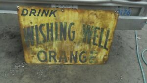 ANTIQUE  WISHING WELL TIN SODA SIGN