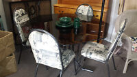 Glass Dining Kitchen Table w/ 4 Chairs EBENEZER'S THRIFT Store