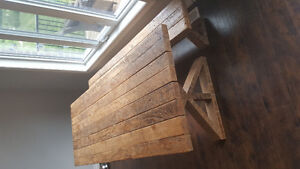 solid wood harvest table w matching bench