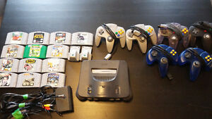N64 with 6 controllers, 13 games, 2 rumble paks