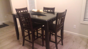 Bar height table (Espresso Black) + 4 chairs