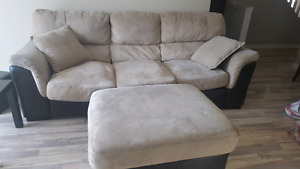 Faux Suade Tan Couch with Padded Footstool