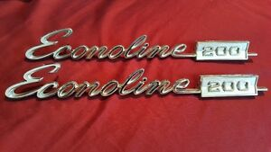 PAIR 1972 FORD ECONOLINE 200 VAN EMBLEMS Chrome