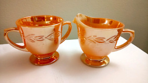Vintage Fire King Peach Lustre Creamer And Sugar