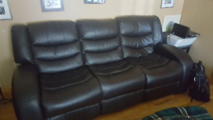 SOLD - Leather Reclining Couch, Reclining Love Seat