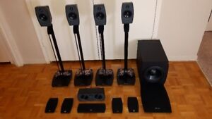 DAHLQUIST ORBIT 5.1 HOME THEATRE SPEAKERS WITH STANDS  EXCELLENT