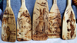 Woodburned Oars - home accent - custom made-