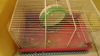 Hamster Cage and Silent Spinner Wheel, Bedding, and Chocolate