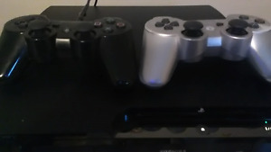 PS3 Slim, 120gb, 2 OEM PS3 Controllers, 5 Games (1-ps1), Hookups