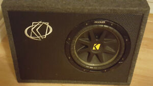 "Alpine Amp & 10"" Kicker subwoofer with box"