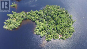 Private island on mostly crown land lake