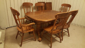 Solid oak 12 seats dining table with 6 chairs