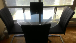 Tempered Glass Dining Set with 4 Black Chairs