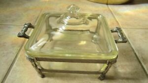 Rare - PYREX,Patented May 27/1919,Covered Serving Disn in Stand