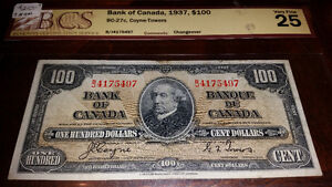Graded 1937 100 bill very fine 25 only $210.see my other ads....
