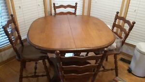 Dark Maple table and 4 chairs