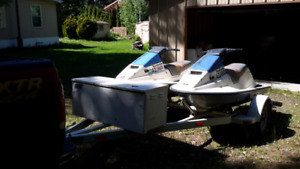 Two Matching 1988 Bombardier Sea Doos with Trailer