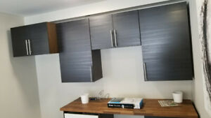 modern kitchen cabinets+ free LG stainless steel microwave