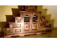 VERY UNUSUAL INDONESIAN DOUBLE REVERSE STEP UNIT SOLID WOOD ( a one off ) cost £750