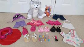 GIRLS Build A Bear husky dog cat kitten smallfry BAB bundle clothes ou