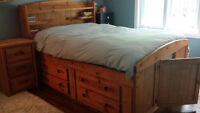 Solid Pine Captains Bed, Bookshelf headboard and night stand