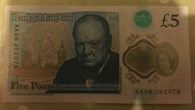 Two New Five Pound Notes AA06 first edition