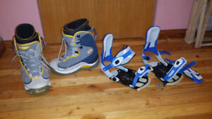 Men's snowboard boots US 15 and bindings XL.