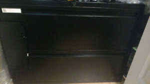 Black steel office filing cabinet