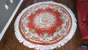 Round Area Rug Floral Wool Silk Hand Knotted Carpet (5 x 5)'