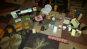 Collection of Miniature Dollhouse Furniture and Accesories