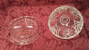 Pinwheel Clear Cut Crystal Covered Butter Dish Kitchener / Waterloo Kitchener Area image 3