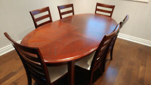 Dining Table and Six Chairs (Solid Mahogany)