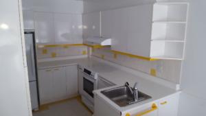 Armoires de cuisine, stratifié blanc (Kitchen cabinets)
