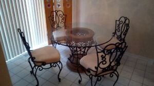 Wrought Iron Dining Set - round glass table & 4 chairs
