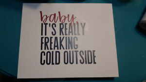Handmade holiday wooden sign 'baby, it's freaking cold outside'