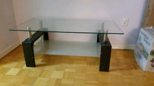 3pcs Coffee table with Clear glass top