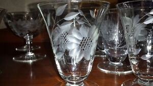 J.W. Hughes Cornflower Etched  Glass stemware Oakville / Halton Region Toronto (GTA) image 2