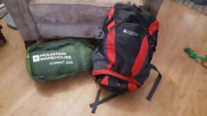 Mountain Warehouse Sleeping bag and Hiking Bag -only used once
