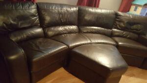 Sofa inclinable en cuir brun foncé