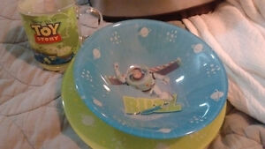 Toy Story Buzz Lightyear glass plate, bowl & cup