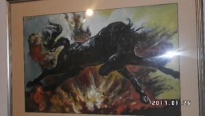Brian Porter Painting. Horse and Explosion. Signed. Dated 1989