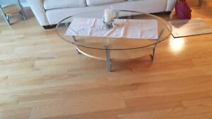 Solid glass coffee table and end tables