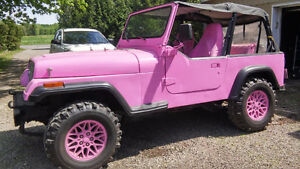 * JEEP ROSE * MAGS, VOLANT ET BANC ROSE *