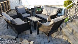 Ensemble de meubles de patio, 2 Causeuses, 2 Fauteuils, 2 Tables