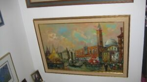Vintage Oil Painting of Venice